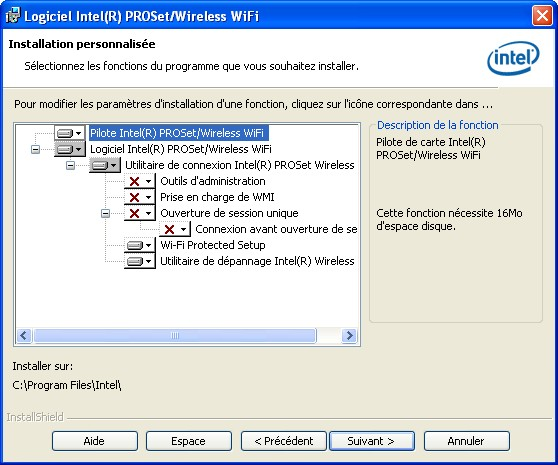 utilitaire proset/wireless intel
