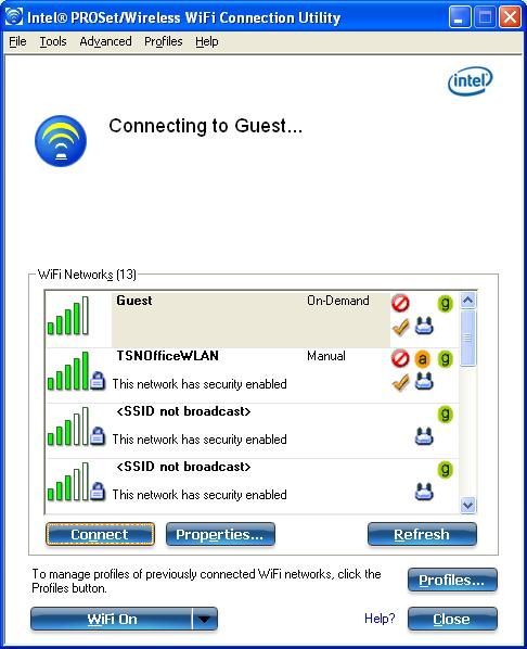 Use the Intel(R) PROSet/Wireless WiFi Connection Utility